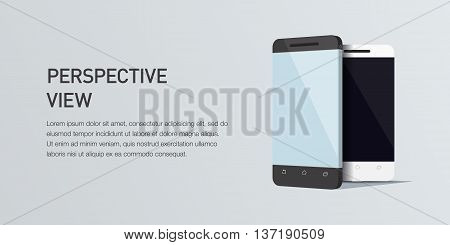 Vector minimalistic 3d isometric illustration cell phone. perspective view. Mockup generic smartphone. Template for infographic or presentation UI design. Concept graphic, UIX, web banner, printed material