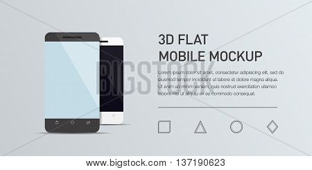 Minimalistic vector flat illustration of mobile phone. Mockup generic smartphone. Template for infographic or presentation. UI design. Concept graphic, UIX, web banner, printed material