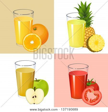 Set of fresh juices. Realistic transparent glasses with squeezed fruit citrus and vegetable juices orange apple pineapple tomato isolated on background