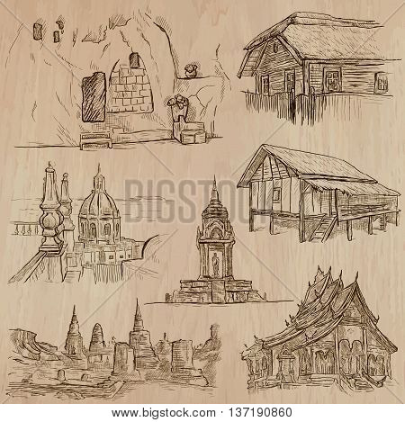 ARCHITECTURE and Famous Places around the World. An hand drawn vector collection. Freehand drawings. Editable in layers and groups. Background is isolated. All buildings are named inside the file.