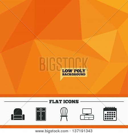 Triangular low poly orange background. Furniture icons. Cupboard, chair and TV table signs. Modern armchair symbol. Calendar flat icon. Vector