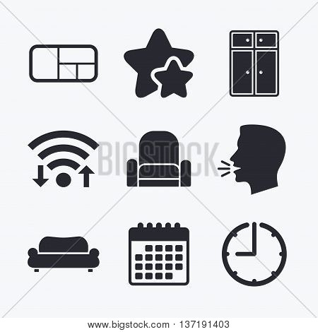 Furniture icons. Sofa, cupboard, and book shelf signs. Modern armchair symbol. Wifi internet, favorite stars, calendar and clock. Talking head. Vector