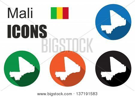 This is set colorful map flat icons state mali