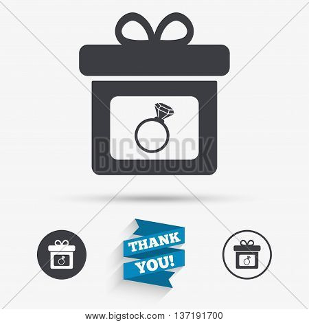 Gift box sign icon. Present with engagement ring symbol. Flat icons. Buttons with icons. Thank you ribbon. Vector