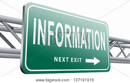 information sign to search more details and find online info, 3D illustration isolated on white