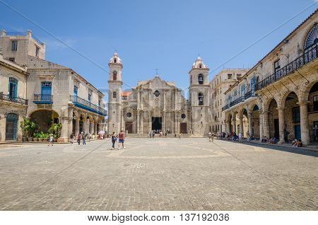 HAVANA - CUBA JUNE 13, 2016: The Cathedral of the Virgin Mary of the Immaculate Conception is a popular tourist destination. The Cathedral was completed in 1777 and is one of the best examples of Baroque architecture in the country.