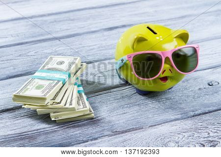 Dollar bundles and money box. Green piggy bank in sunglasses. Success came as expected. Enough money for long journey.
