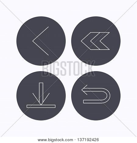 Arrows icons. Download, left direction linear signs. Next, back arrows flat line icons. Flat icons in circle buttons on white background. Vector