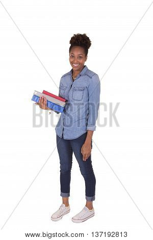 Young college student holding books isolated on white