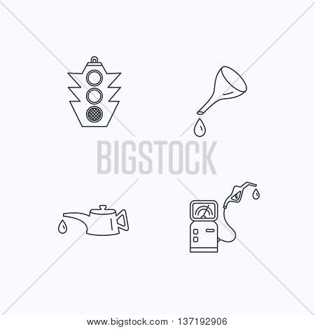 Motor oil change, traffic lights and gas station icons. Petrol station linear sign. Flat linear icons on white background. Vector