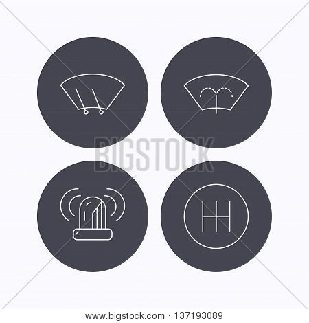 Manual gearbox, siren alarm and washing window icons. Windscreen wiper linear sign. Flat icons in circle buttons on white background. Vector