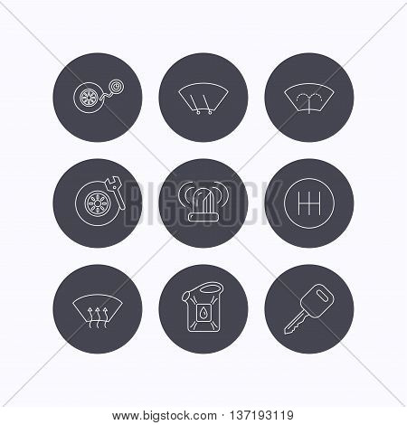 Manual gearbox, tire service and car key icons. Siren alarm, jerrycan and wheel pressure linear signs. Window washing, wiper and heated icons. Flat icons in circle buttons on white background. Vector