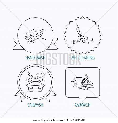 Car wash icons. Automatic cleaning station linear signs. Hand wash, sponge flat line icons. Award medal, star label and speech bubble designs. Vector