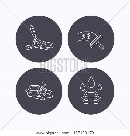 Car wash icons. Automatic cleaning station linear signs. Washing windows, wet cleaning and foam bucket flat line icons. Flat icons in circle buttons on white background. Vector