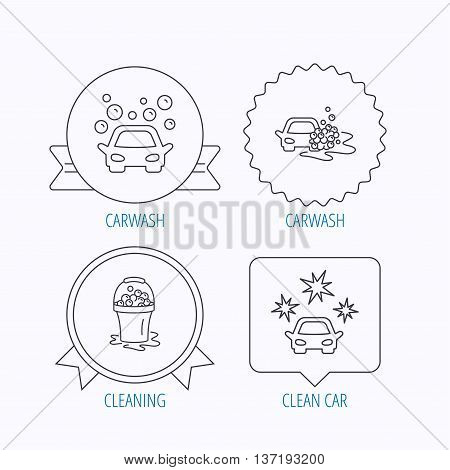 Car wash icons. Automatic cleaning station linear signs. Wet cleaning and foam bucket flat line icons. Award medal, star label and speech bubble designs. Vector
