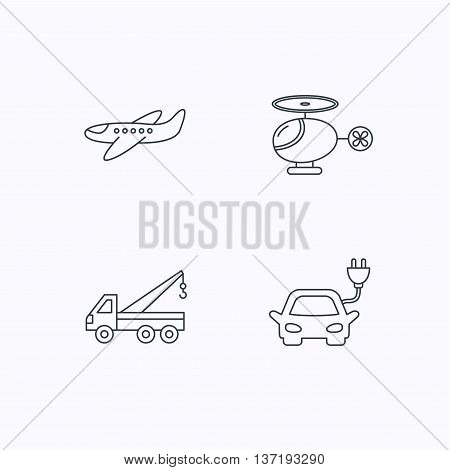 Electric car, airplane and helicopter icons. Evacuator linear sign. Flat linear icons on white background. Vector