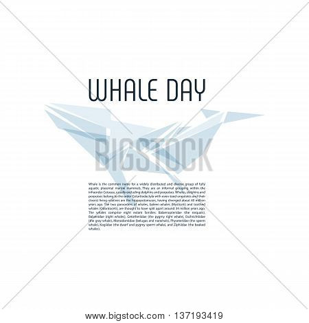 Isolated whale vector illustration. Ocean mammal on the blue background image. International whale day vector illustration. Extinct animal symbol. White and blue color