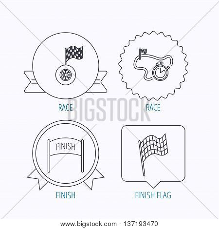 Finish flag, race timer and wheel icons. Race track linear sign. Award medal, star label and speech bubble designs. Vector
