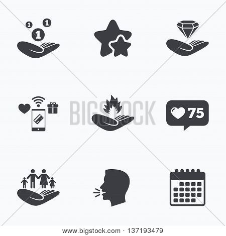 Helping hands icons. Financial money savings, family life insurance symbols. Diamond brilliant sign. Fire protection. Flat talking head, calendar icons. Stars, like counter icons. Vector