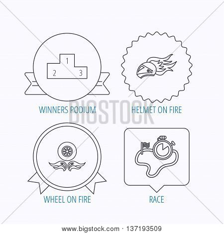 Winner podium, race timer and wheel on fire icons. Motorcycle helmet on fire linear sign. Award medal, star label and speech bubble designs. Vector