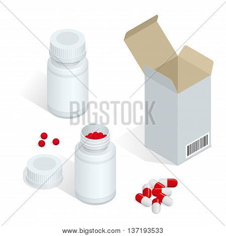 Modern pill bottle for pills or capsules. Isolated icon on white background. Flat 3d isometric vector illustration