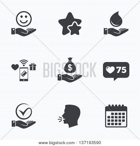 Smile and hand icon. Water drop and Tick or Check symbol. Palm holds Dollar money bag. Flat talking head, calendar icons. Stars, like counter icons. Vector