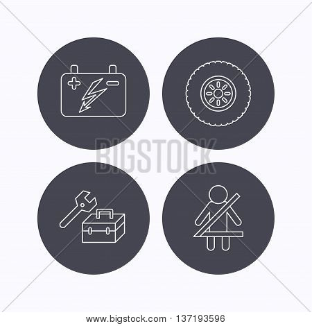 Accumulator, wheel and car service icons. Repair toolbox, fasten seat belt linear signs. Flat icons in circle buttons on white background. Vector