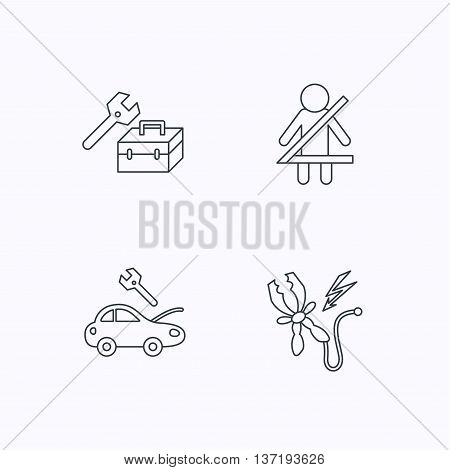 Repair, battery terminal and car service icons. Fasten seat belt linear sign. Flat linear icons on white background. Vector