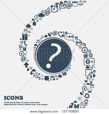 Question Mark Sign Icon. Help Symbol. Faq Sign In The Center. Around The Many Beautiful Symbols Twis