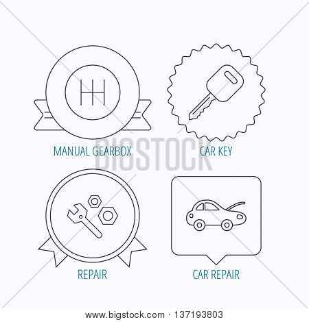 Car key, repair tools and manual gearbox icons. Car repair, transmission linear signs. Award medal, star label and speech bubble designs. Vector