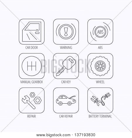 Car key, repair tools and manual gearbox icons. Wheel, warning ABS and battery terminal linear signs. Flat linear icons in squares on white background. Vector