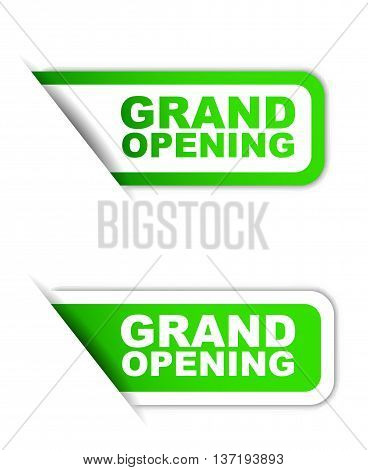 This is green vector paper element sticker grand opening in two variant