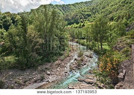 Firenzuola province of Florence Tuscany Italy: the river Santerno and the forest on Apennine mountains