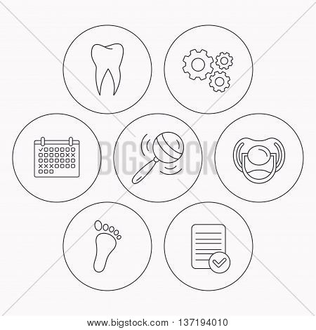 Pacifier, footprint and dental tooth icons. Rattle toy linear sign. Check file, calendar and cogwheel icons. Vector