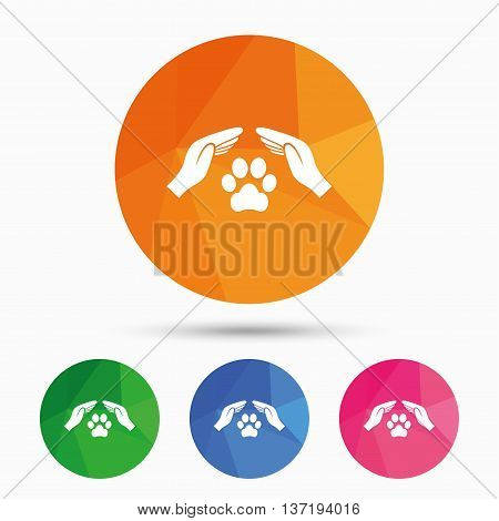 Protection of animals sign icon. Hands protect paw symbol. Shelter for dogs. Animals insurance. Triangular low poly button with flat icon. Vector