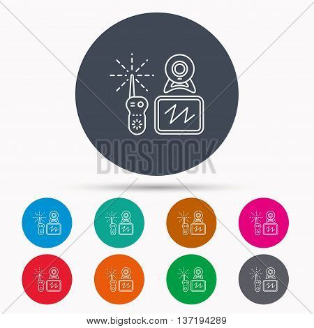 Baby monitor icon. Video nanny for newborn sign. Radio set with camera and tv symbol. Icons in colour circle buttons. Vector