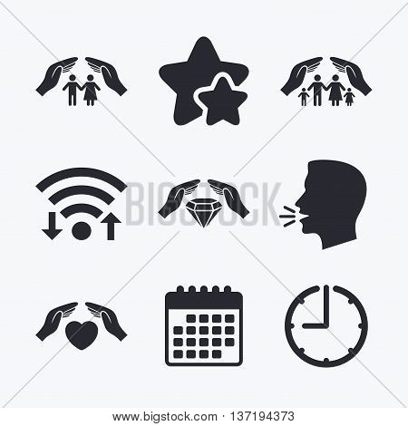 Hands insurance icons. Couple and family life insurance symbols. Heart health sign. Diamond jewelry symbol. Wifi internet, favorite stars, calendar and clock. Talking head. Vector