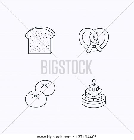 Cake, pretzel and bread rolls icons. Toast linear sign. Flat linear icons on white background. Vector