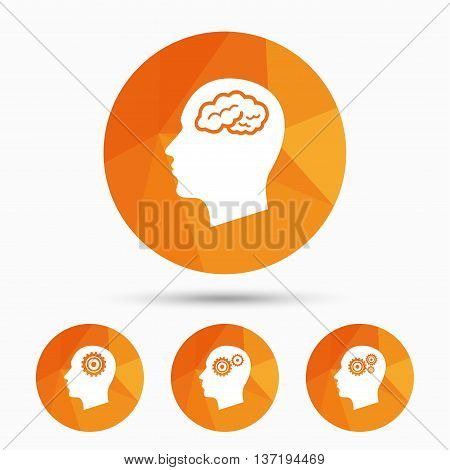 Head with brain icon. Male human think symbols. Cogwheel gears signs. Triangular low poly buttons with shadow. Vector
