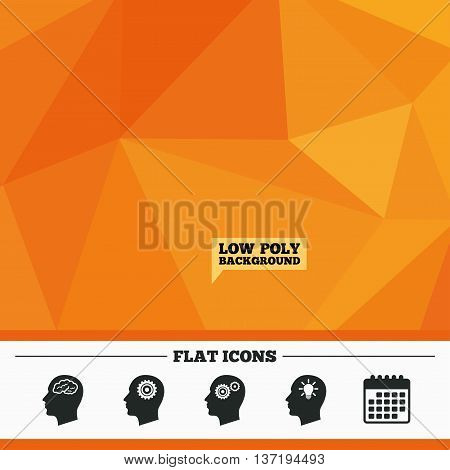 Triangular low poly orange background. Head with brain and idea lamp bulb icons. Male human think symbols. Cogwheel gears signs. Calendar flat icon. Vector
