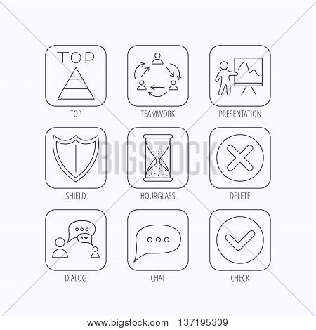 Teamwork, presentation and dialog icons. Chat speech bubble, shield and pyramid linear signs. Check, delete and hourglass flat line icons. Flat linear icons in squares on white background. Vector
