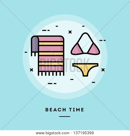 Beach time flat design thin line banner usage for e-mail newsletters web banners headers blog posts print and more