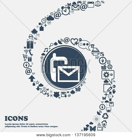 Mail Icon. Envelope Symbol. Message Sms Sign In The Center. Around The Many Beautiful Symbols Twiste