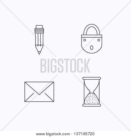 Mail envelope, pencil and lock icons. Hourglass linear sign. Flat linear icons on white background. Vector