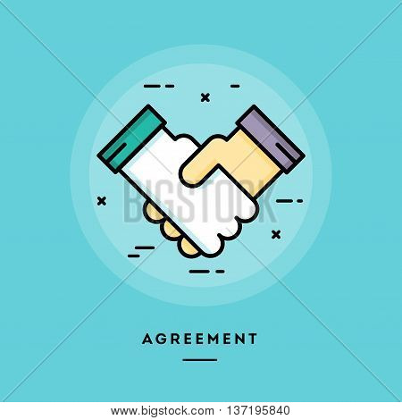 Agreement flat design thin line banner usage for e-mail newsletters web banners headers blog posts print and more
