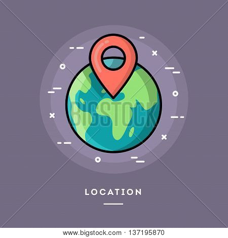 Location flat design thin line banner usage for e-mail newsletters web banners headers blog posts print and more
