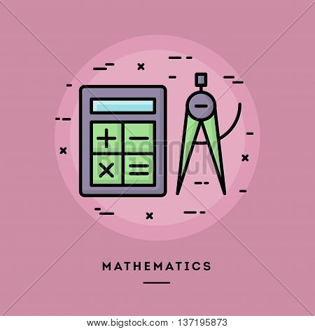 Mathematics flat design thin line banner usage for e-mail newsletters web banners headers blog posts print and more