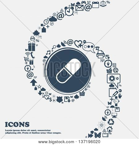 Pill Icon In The Center. Around The Many Beautiful Symbols Twisted In A Spiral. You Can Use Each Sep