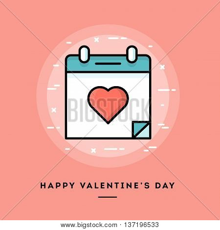 Happy Valentine's day flat design thin line banner usage for e-mail newsletters web banners headers blog posts print and more