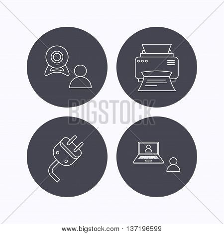 Video chat, printer and electric plug icons. Video conference linear sign. Flat icons in circle buttons on white background. Vector